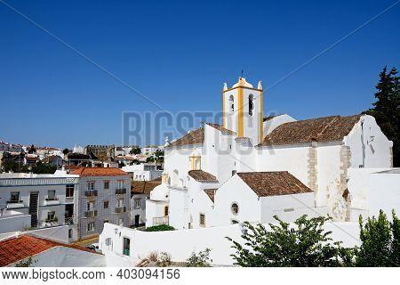 Tavira, Portugal - June 12, 2017 - Elevated View Of Santiago Church In The Old Town (igreja De Santi