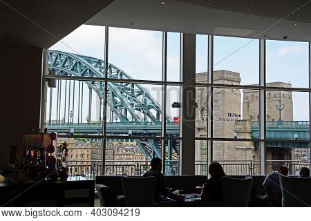 Newcastle-upon-tyne - June 11, 2017 - People Sitting In The Bar Of The Hilton Hotel In Gateshead Wit