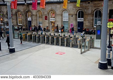 Newcastle-upon-tyne, Uk - June 11, 2017 - Row Of Ticket Barriers Inside Newcastle Central Railway St
