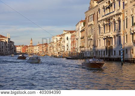 Venice, Italy - September 20, 2017: Grand Canal, Vintage Buildings. Canal Grande Is One Of The Major