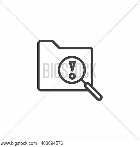 File Folder Scan Line Icon. Linear Style Sign For Mobile Concept And Web Design. Document Folder At