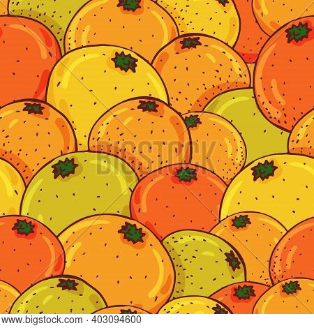 Vector Seamless Pattern With Oranges, Tangerines, Grapefruits And Pamela. Juicy, Vitamin C-containin