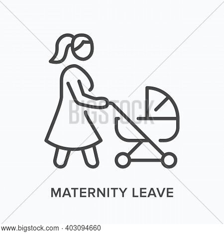 Maternity Leave Flat Line Icon. Vector Outline Illustration Of Woman With Stroller. Black Thin Linea