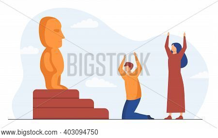 Religious People Worshipping Idol. Statue, Holy Table, Cult. Flat Vector Illustration. Religion, Cul