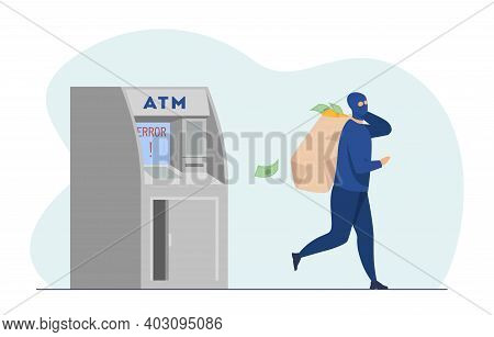 Atm Burglar Carrying Sack Of Money. Mugger In Mask With Cash, Thief, Robber, Breaking. Flat Vector I