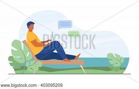 Male Freelancer Working Outdoors. Tropical Beach, Seaside, Nature, Using Laptop. Flat Vector Illustr