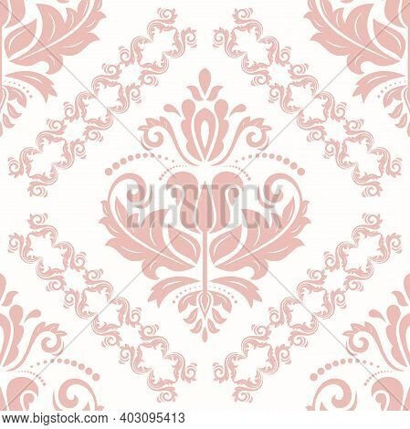 Classic Seamless Pink Pattern. Damask Orient Ornament. Classic Vintage Background. Orient Ornament F