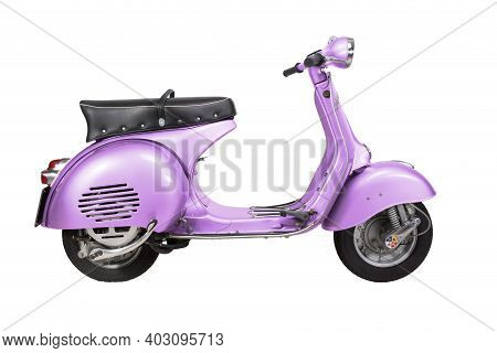 Vintage Vespa Motorcycle - 1959 - Isolated On White Background - Pink