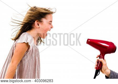 Girl Is Yelling, Shouting At Blow Dryer - Hair Dryer.