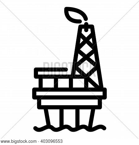 Platform Sea Drilling Rig Icon. Outline Platform Sea Drilling Rig Vector Icon For Web Design Isolate