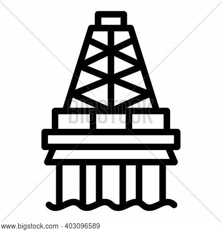 Power Sea Drilling Rig Icon. Outline Power Sea Drilling Rig Vector Icon For Web Design Isolated On W