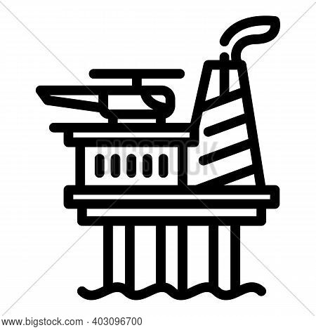 Energy Sea Drilling Rig Icon. Outline Energy Sea Drilling Rig Vector Icon For Web Design Isolated On