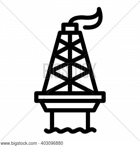 Gas Sea Drilling Rig Icon. Outline Gas Sea Drilling Rig Vector Icon For Web Design Isolated On White