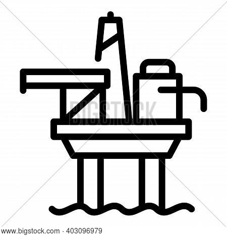 Hydro Sea Drilling Rig Icon. Outline Hydro Sea Drilling Rig Vector Icon For Web Design Isolated On W