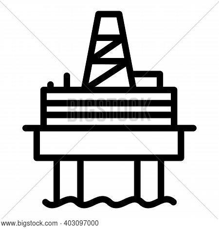Refinery Sea Drilling Rig Icon. Outline Refinery Sea Drilling Rig Vector Icon For Web Design Isolate