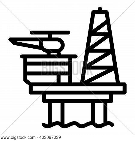 Coal Sea Drilling Rig Icon. Outline Coal Sea Drilling Rig Vector Icon For Web Design Isolated On Whi