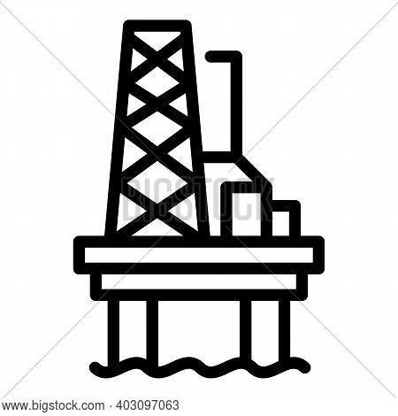 Dam Sea Drilling Rig Icon. Outline Dam Sea Drilling Rig Vector Icon For Web Design Isolated On White