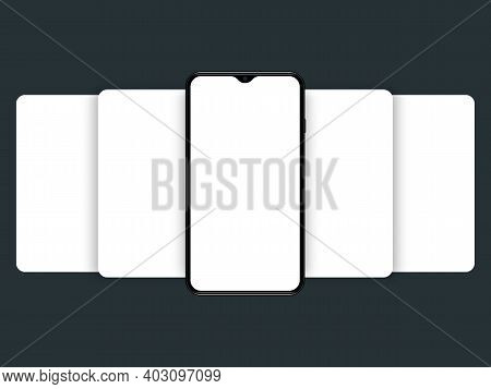 Smartphone Mockup With Blank Screen. Carousel Style Phone Screen. Empty Display For Presentation Or