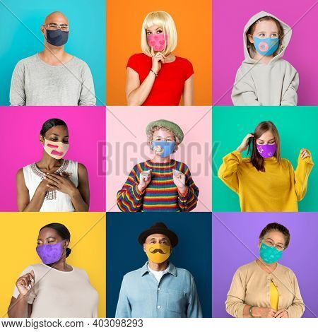 Diverse people wearing face mask photo montage