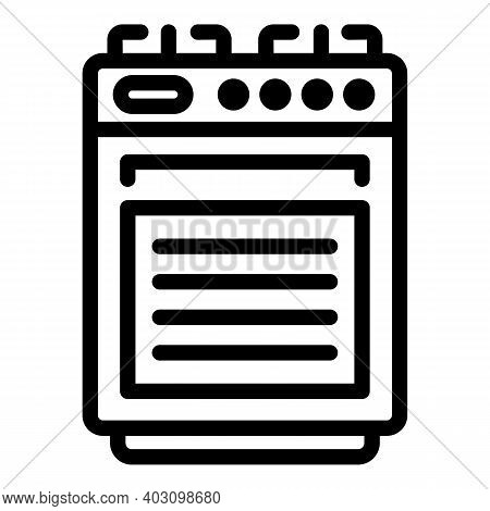 Kitchen Gas Stove Icon. Outline Kitchen Gas Stove Vector Icon For Web Design Isolated On White Backg