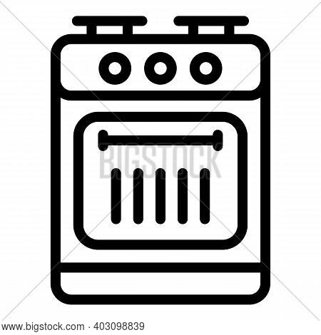 Fire Gas Stove Icon. Outline Fire Gas Stove Vector Icon For Web Design Isolated On White Background
