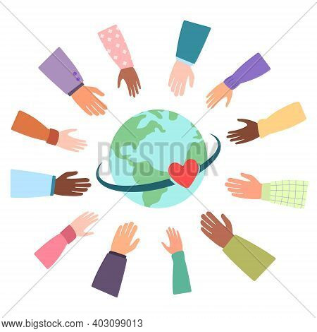 United Community Of Different Nationalities Of The World. Love Connects People From Countries All Ov