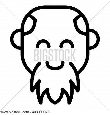Smiling Bearded Man Icon. Outline Smiling Bearded Man Vector Icon For Web Design Isolated On White B