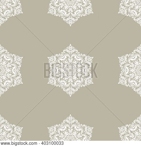 Classic Seamless Vector Pattern. Damask Orient Beige And White Ornament. Classic Vintage Background.