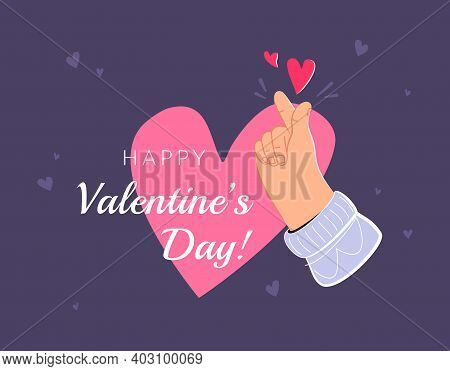 Human Hand Showing Korean Love Heart Sign By Fingers. Flat Vector Illustration For Saint Valentines