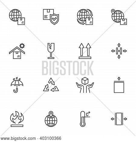 Logistics And Shipping Line Icons Set, Cargo Logistics Outline Vector Symbol Collection, Linear Styl