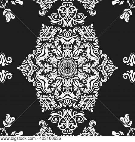 Orient Vector Classic Pattern. Seamless Abstract Background With Vintage White Elements. Orient Dark