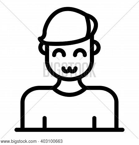 Mood Man Smile Icon. Outline Mood Man Smile Vector Icon For Web Design Isolated On White Background