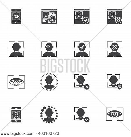 Biometrics Identification Vector Icons Set, Modern Solid Symbol Collection, Filled Style Pictogram P
