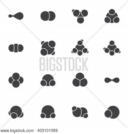 Molecular Structure Vector Icons Set, Gas Molecule Formula Modern Solid Symbol Collection, Filled St