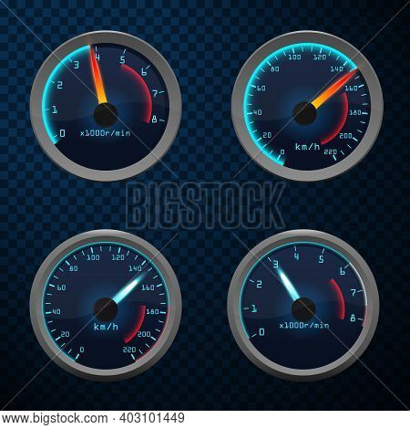 Speedometer Interface Icons. Car Speedometer Set Of Dashboard Speed Meters.