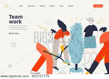 Business Topics -teamwork, Web Template Header. Flat Style Modern Outlined Vector Concept Illustrati