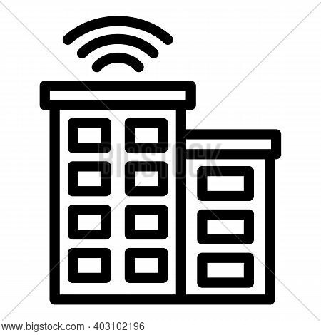 Wireless Building Icon. Outline Wireless Building Vector Icon For Web Design Isolated On White Backg