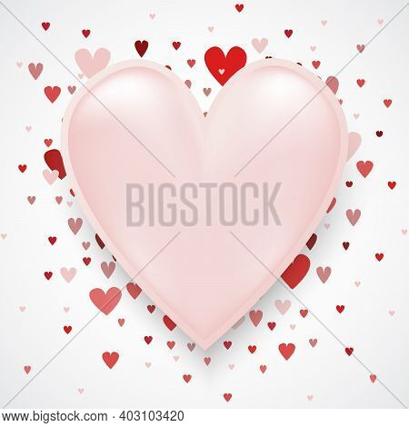 Valentines Day Card With Copy Space In The Middle. Heart Confetti Falling Over Pink Background For G