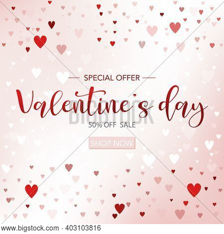 Valentines Day Sale Background With Heart Icon. Can Be Used For Wallpaper, Flyers, Invitation, Poste