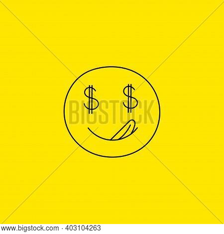 Face With Dollars In Eyes. Greed Symbol. Avarice Sign.
