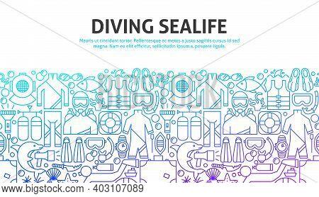 Diving Sealife Concept. Vector Illustration Of Outline Design.