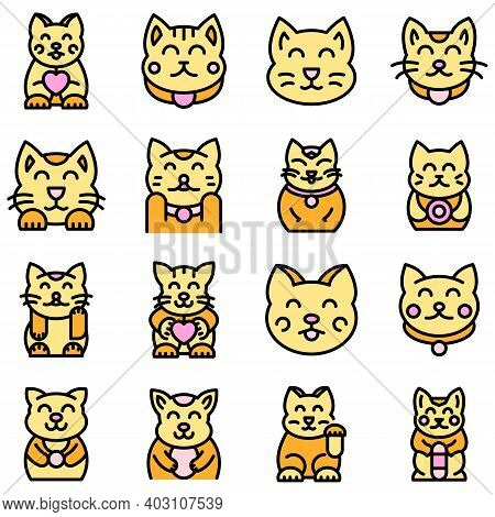 Lucky Cat Icons Set. Outline Set Of Lucky Cat Vector Icons Thin Line Color Flat On White