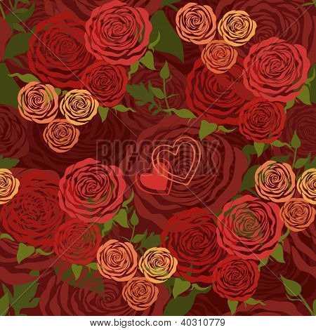 Vector Floral Seamless Pattern With Flower Roses
