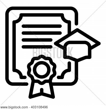 High Degree Diploma Icon. Outline High Degree Diploma Vector Icon For Web Design Isolated On White B
