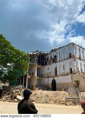 Zanzibar, Tanzania - January 6, 2021: House Of Wonders Destroyed During Reconstruction