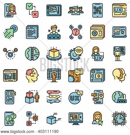 Interaction Icons Set. Outline Set Of Interaction Vector Icons Thin Line Color Flat On White