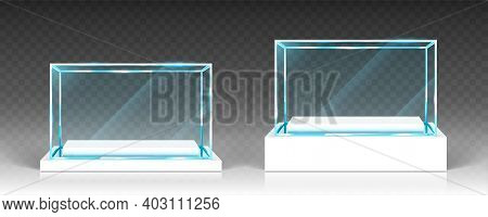 Glass Showcases, Display, Exhibit Stand, Transparent Boxes Front View On White Wood Or Plastic Base.