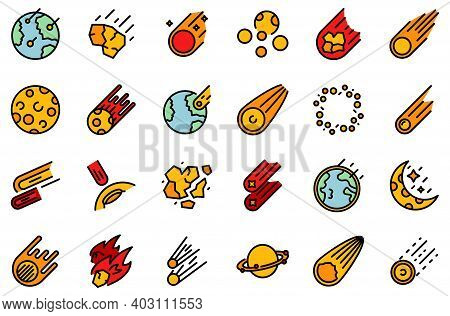 Asteroid Icons Set. Outline Set Of Asteroid Vector Icons Thin Line Color Flat On White
