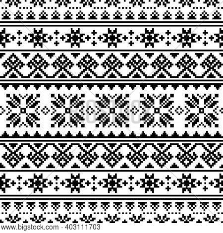 Ukrainian, Belarusian Embroidery Vector Seamless Pattern, Cross-stitch Black And White Ornament Inpi