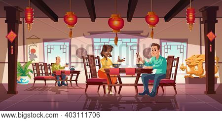 People Dining In Asian Restaurant, Men And Women Eating Noodles And Drink Tea In Traditional Chinese